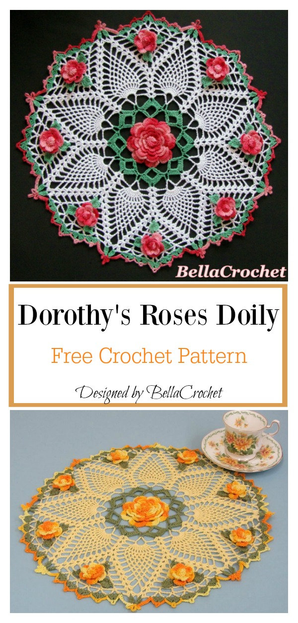 Dorothys Roses Doily Free Crochet Pattern Cool Creativities