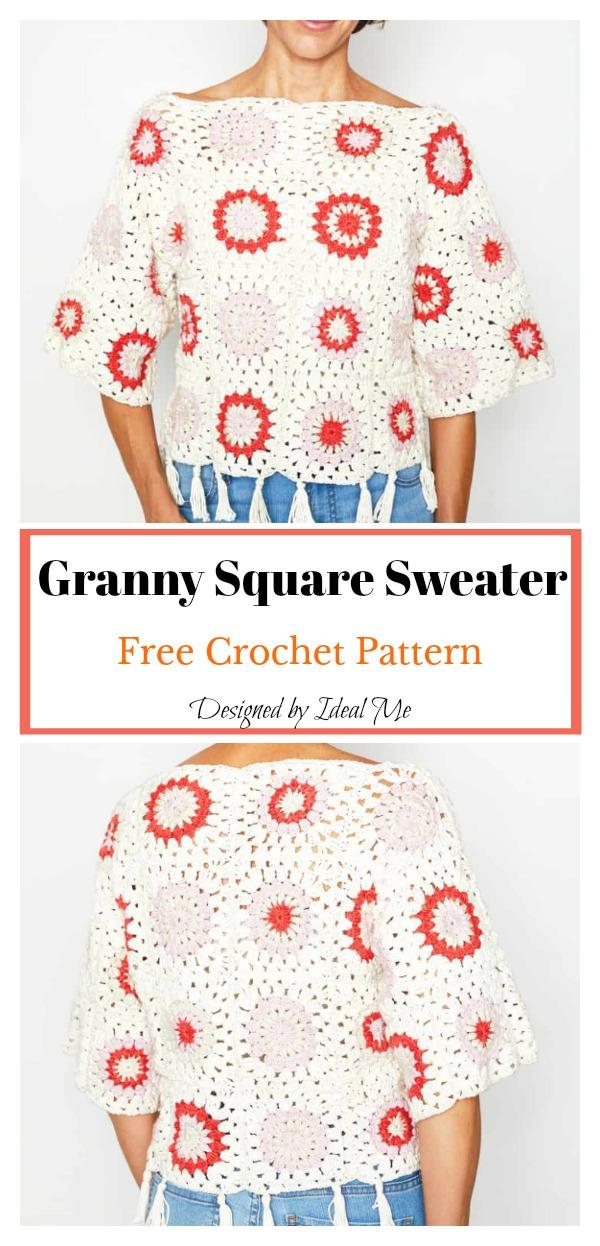 Granny Square Sweater Free Crochet Pattern