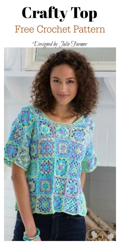 Granny Square Top Free Crochet Pattern