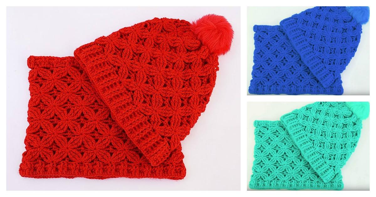 Velvet Stars Stitch Hat and Scarf Free Crochet Pattern f9fd1724940