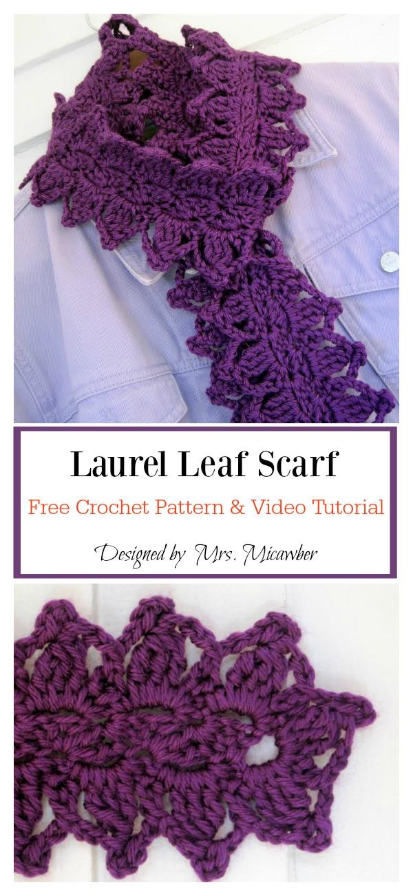Laurel Leaf Scarf Free Crochet Pattern And Video Tutorial Cool