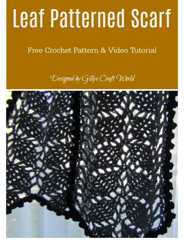 Leaf Patterned Scarf Free Crochet Pattern and Video Tutorial