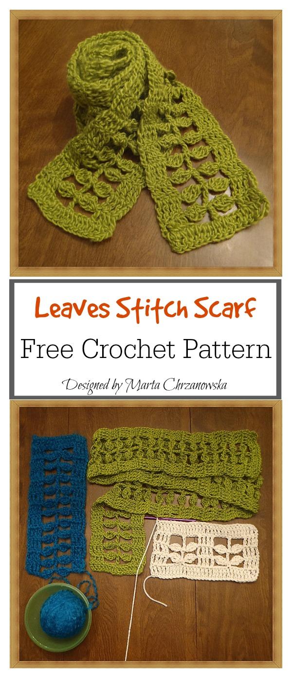 Little Leaves Stitch Scarf Free Crochet Pattern