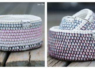 Mosaic Basket Free Crochet Pattern and Video Tutorial
