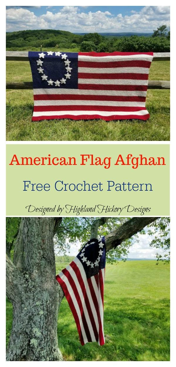 Old Glory American Flag Afghan Blanket Free Crochet Pattern