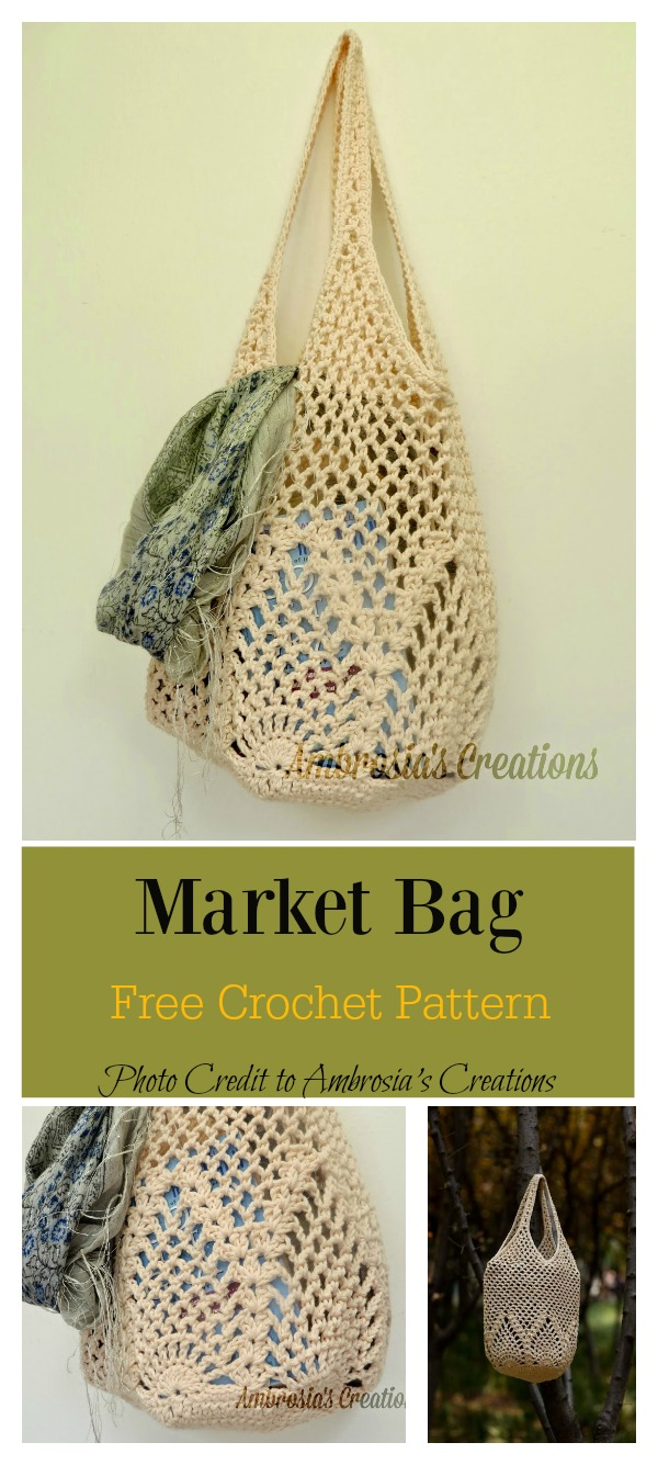Pineapple Stitch Market Bag Free Crochet Pattern