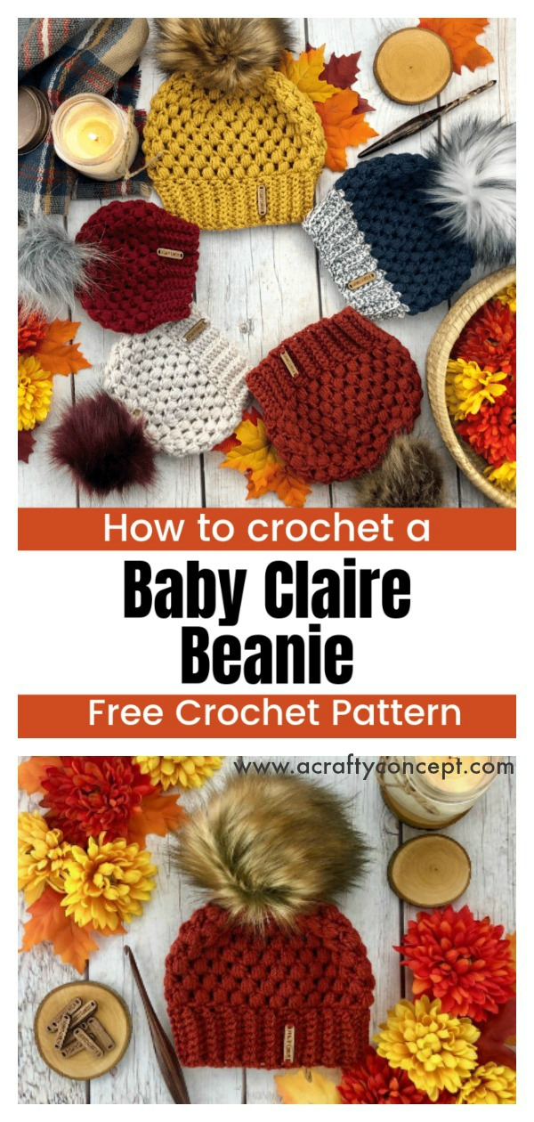 Puff Stitch Baby Claire Beanies Hat Free Crochet Pattern