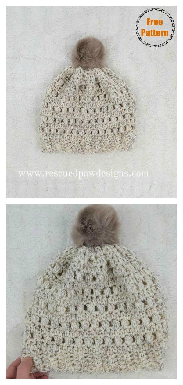 Puff Stitch Beanie Hat Free Crochet Pattern
