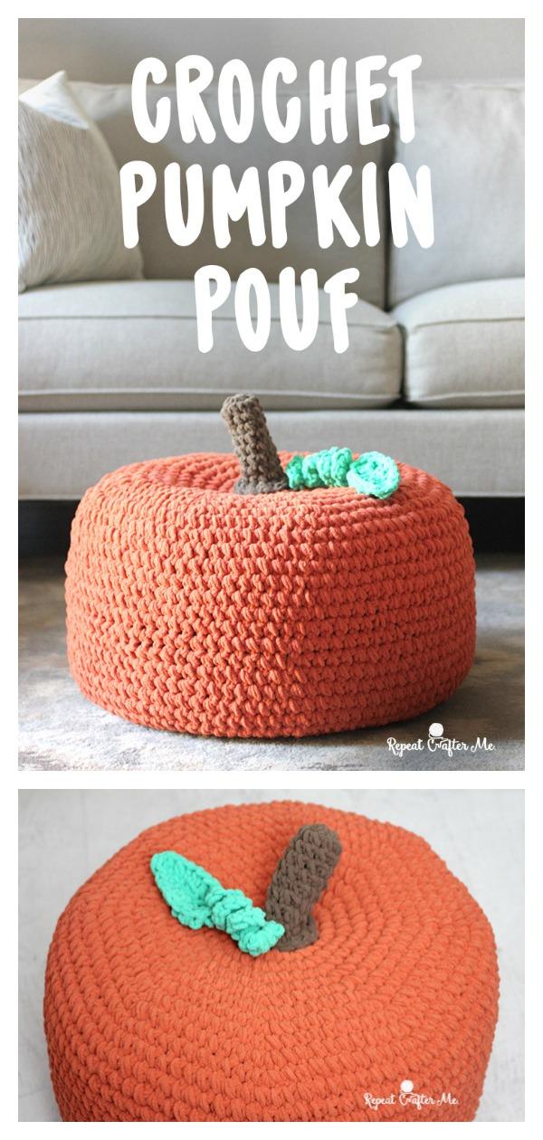 Pumpkin Pouf Free Crochet Pattern