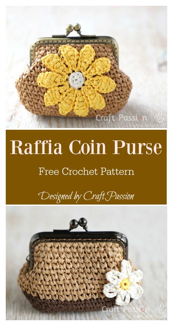Raffia Flower Coin Purse Free Crochet Pattern