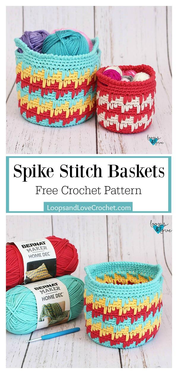 Spike Stitch Baskets Free Crochet Pattern