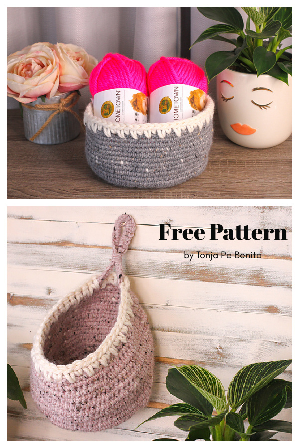 Spiked Baskets Free Crochet Pattern