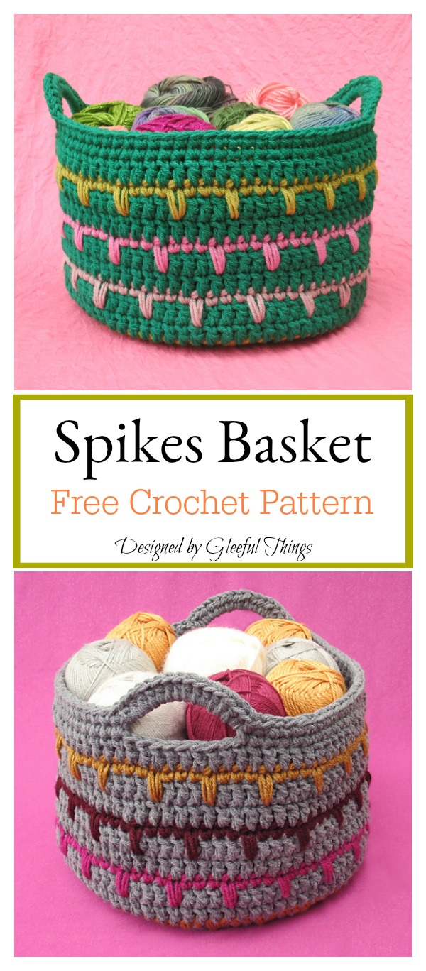 Spikes Basket Free Crochet Pattern