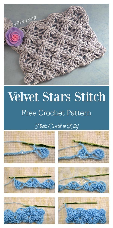Velvet Stars Stitch Free Crochet Pattern