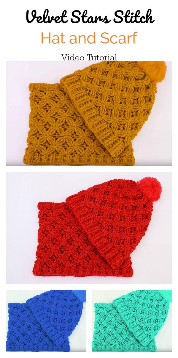 Velvet Stars Stitch Hat and Scarf Free Crochet Pattern