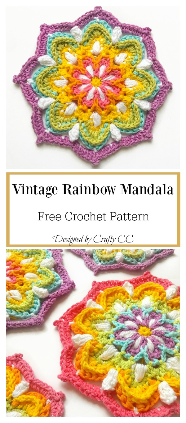 Vintage Rainbow Mandala Free Crochet Pattern Cool Creativities