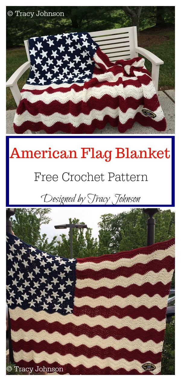 Wavy American Flag Blanket Free Crochet Pattern