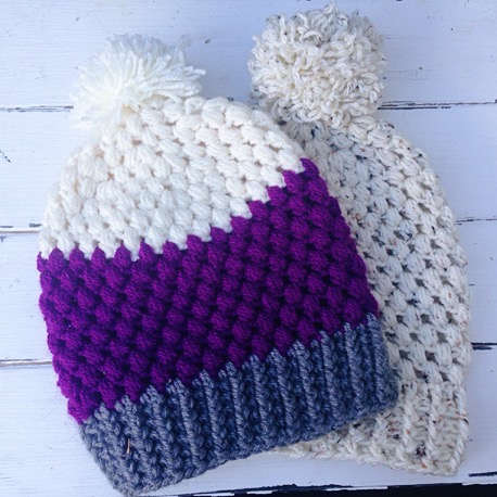 Adult Puff Stitch Beanie Hat Free Crochet Pattern
