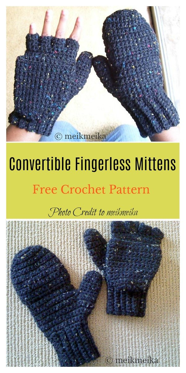 2 in 1 Fingerless Gloves & Mittens Free Crochet Pattern