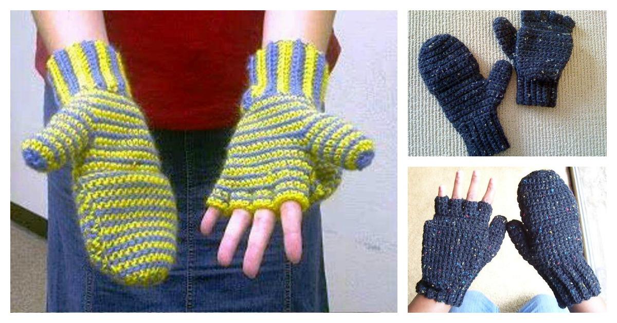 2 In 1 Fingerless Gloves Mittens Free Crochet Pattern