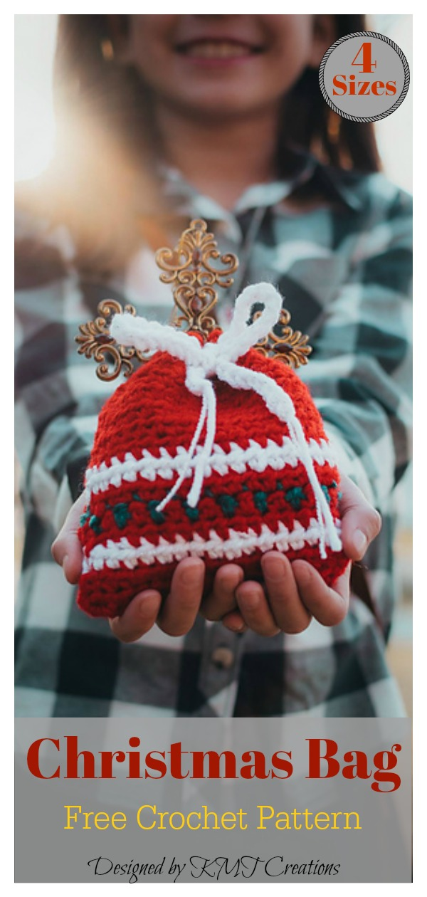 4 Sizes Christmas Gift Bag Set Free Crochet Pattern