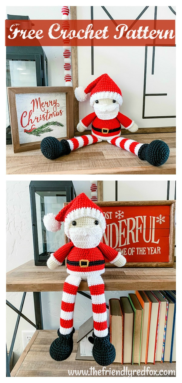Amigurumi Friendly Santa Shelf Sitter Free Crochet Pattern
