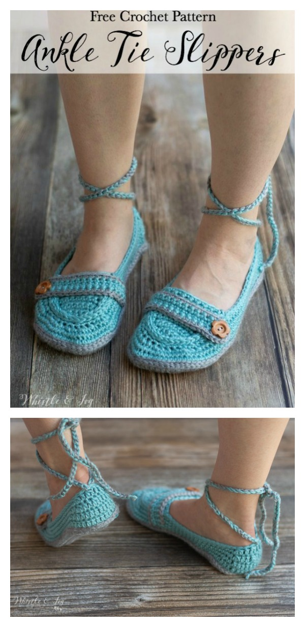 Ankle Tie Slippers Free Crochet Pattern