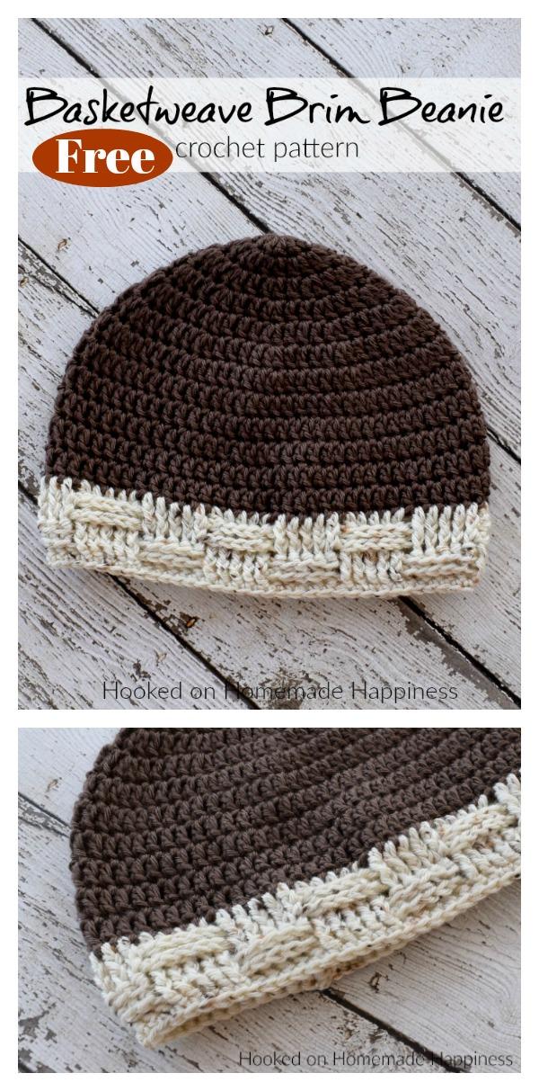 Basketweave Brim Beanie Free Crochet Pattern