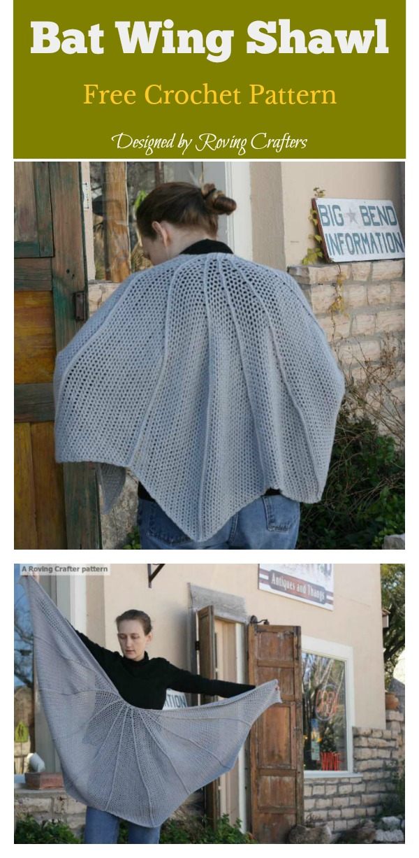 Bat Wing Shawl Free Crochet Pattern