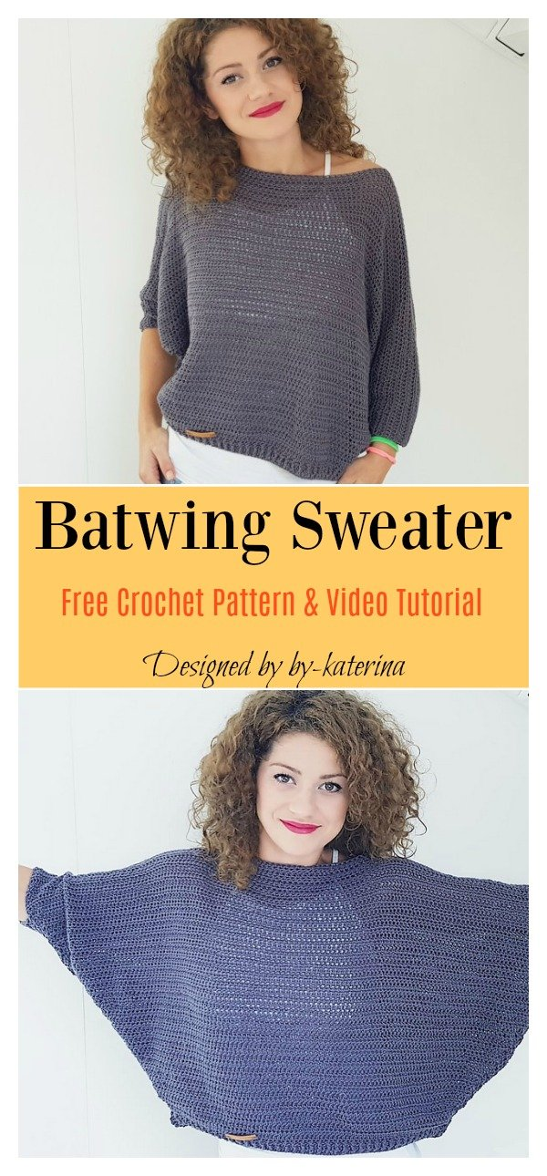 51cdd7e04b98be Batwing Sweater Free Crochet Pattern and Video Tutorial