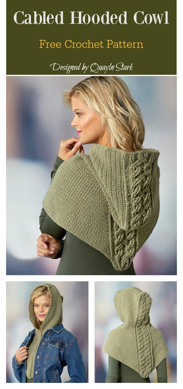 Cabled Hooded Cowl Free Crochet Pattern