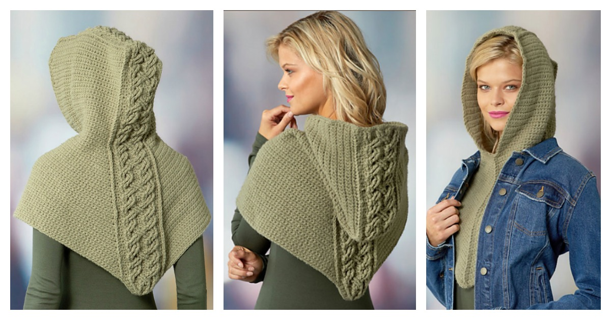 Cabled Hooded Cowl Free Crochet Pattern Mesmerizing Hooded Cowl Pattern