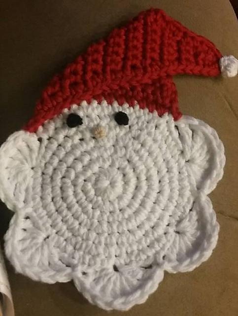 Christmas Santa Coaster Free Crochet Pattern