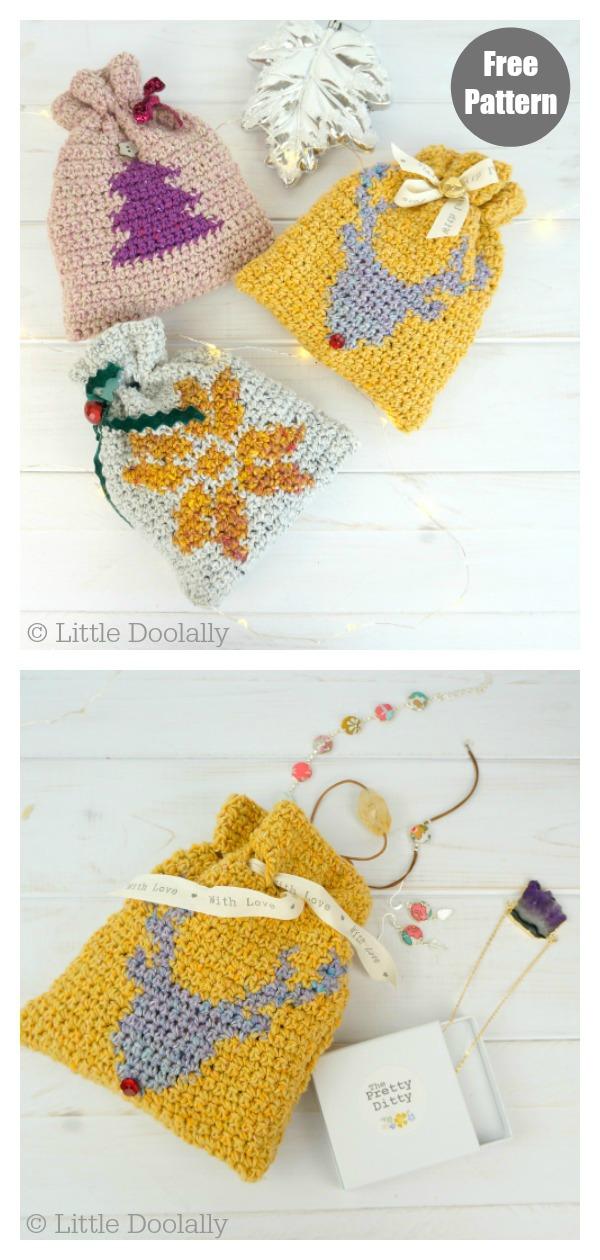 Drawstring Christmas Gift Bags Free Crochet Pattern