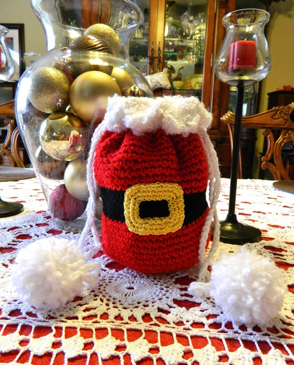 Drawstring Santa Bag Free Crochet Pattern