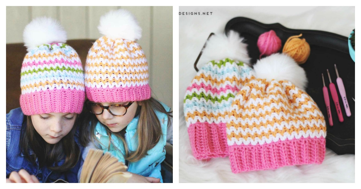 V Stitch Hat Free Crochet Pattern and Video Tutorial d87d3690116