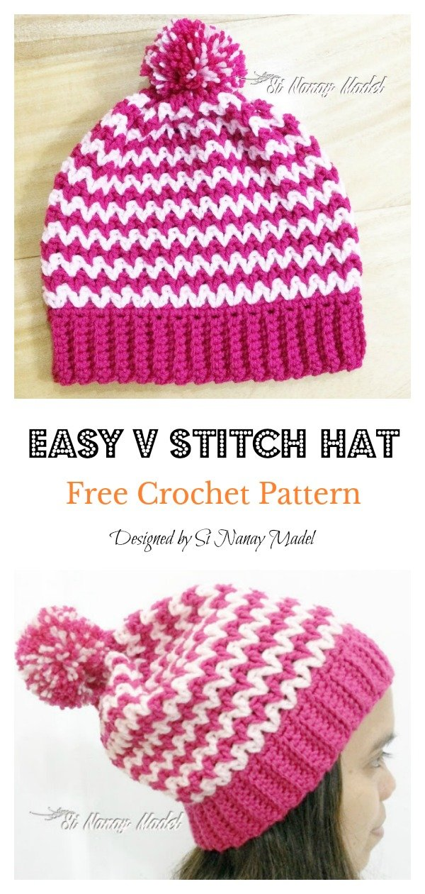 Easy V Stitch Hat Free Crochet Pattern