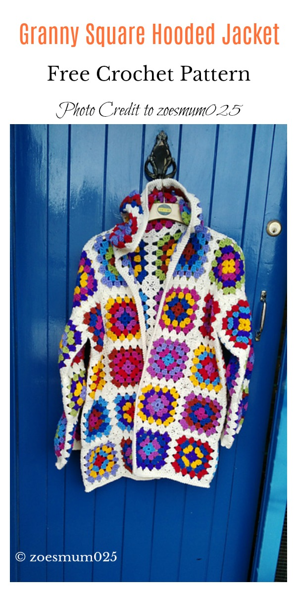 Granny Square Hooded Jacket Free Crochet Pattern