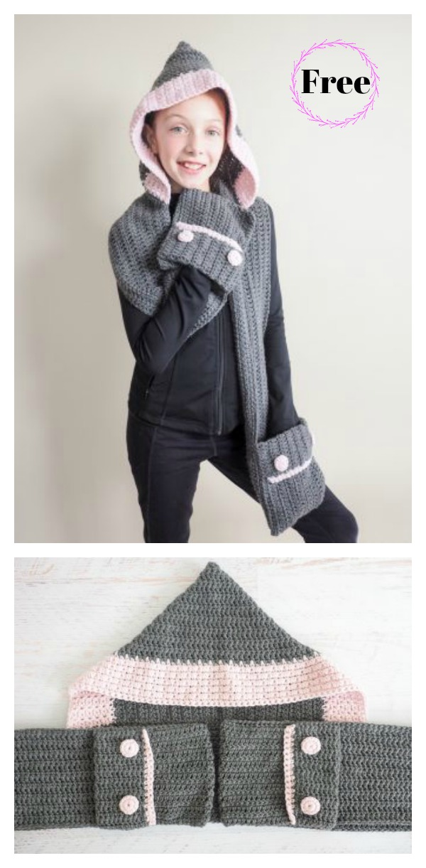 Hood Pocket Scarf Free Crochet Pattern