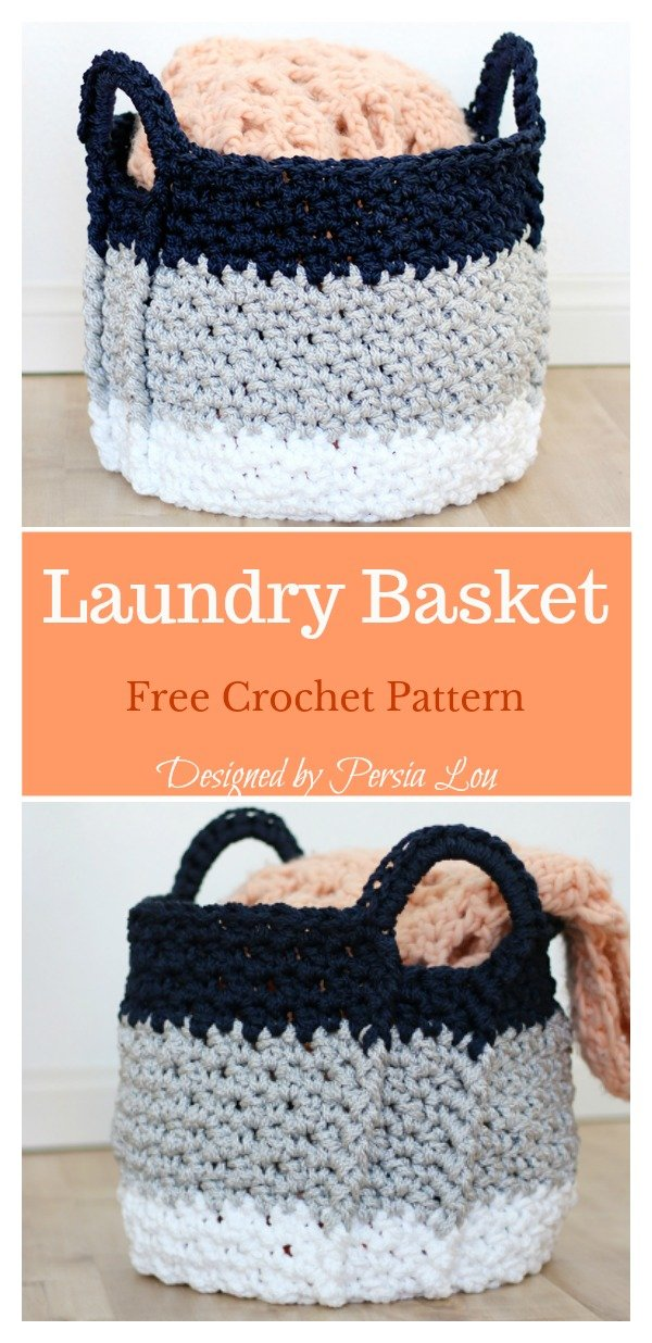 Laundry Basket With Handles Free Crochet Pattern
