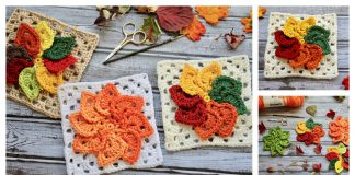 Leaves Granny Square Free Crochet Pattern and Video Tutorial