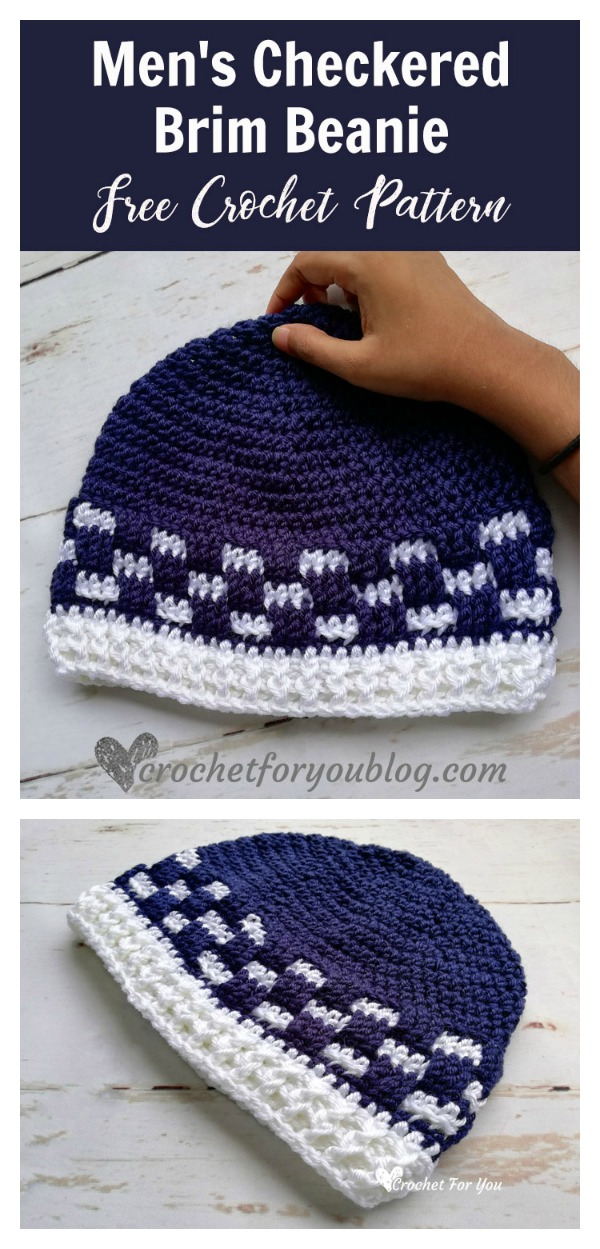Mens Checkered Brim Beanie Free Crochet Pattern Cool Creativities