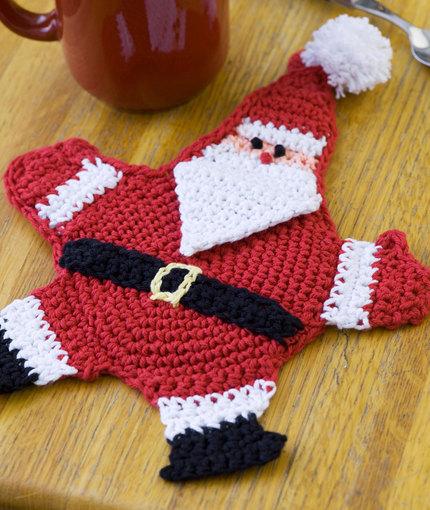 Mr Claus Coaster Free Crochet Pattern