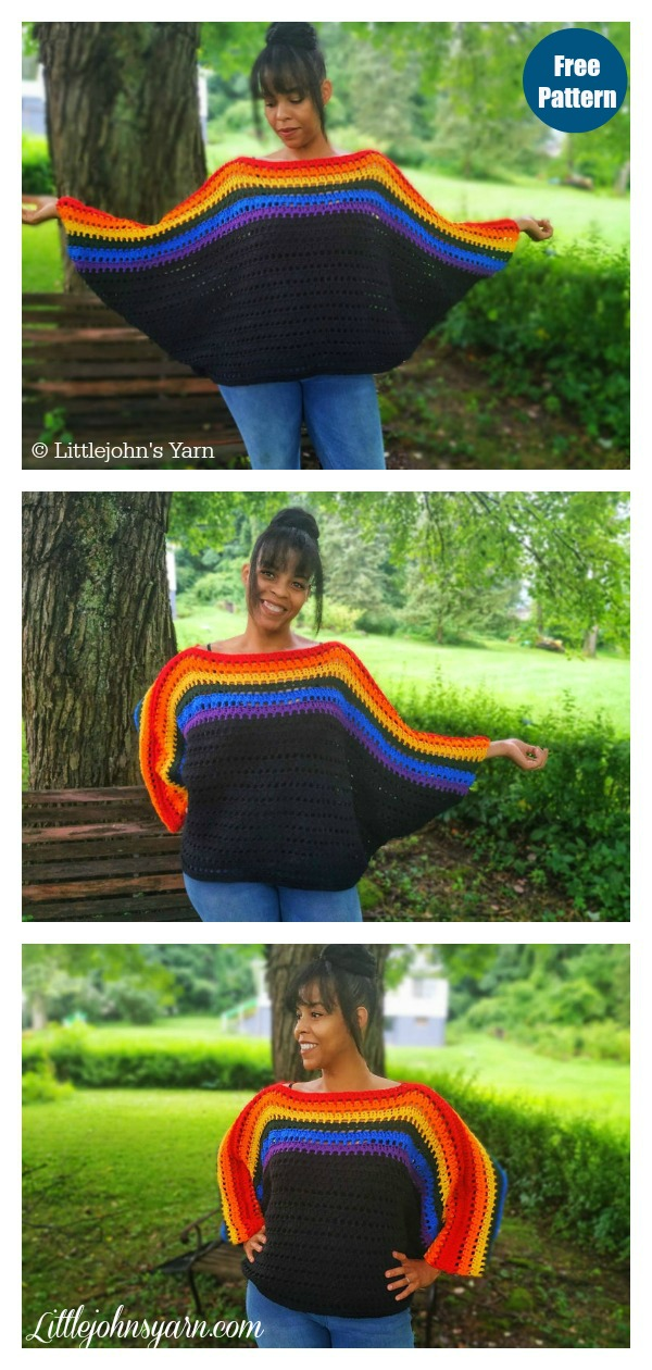 Oversize Batwing Sweater Free Crochet Pattern and Video Tutorial