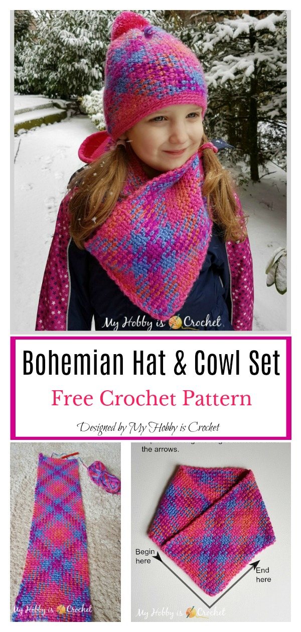 Planned Color Pooling Bohemian Hat & Cowl Set Free Crochet Pattern