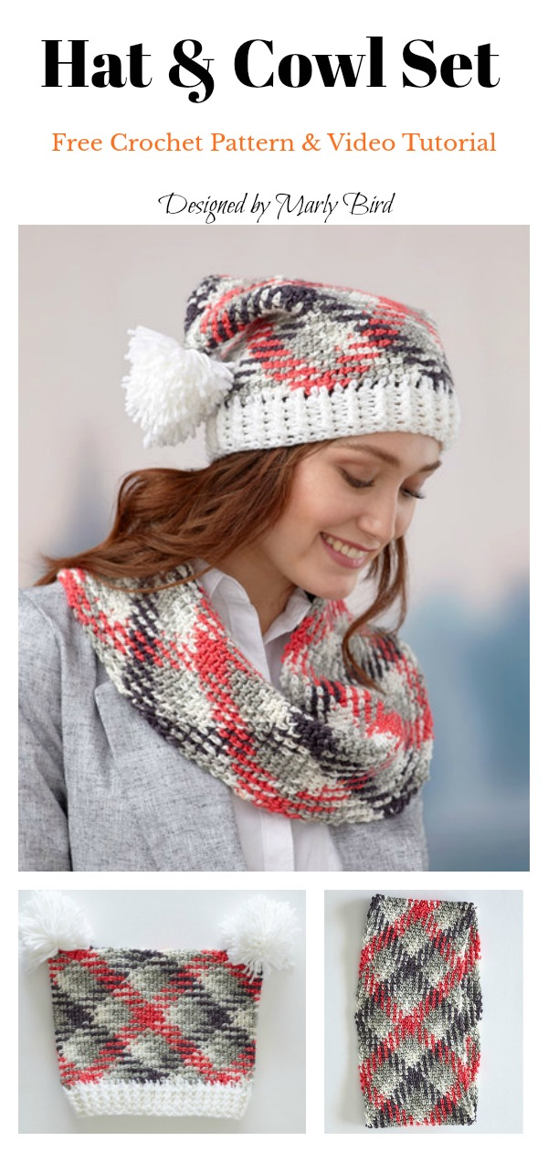 Planned Pooling Hat and Cowl Set Free Crochet Pattern and Video Tutorial