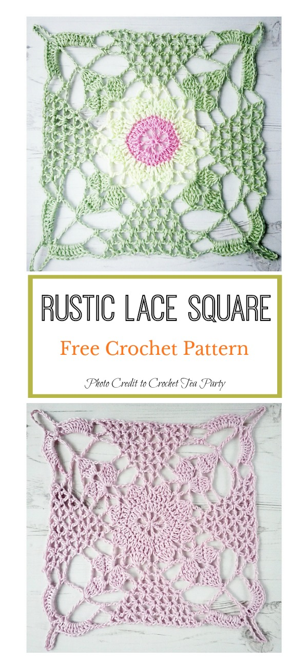 Rustic Lace Square Free Crochet Pattern