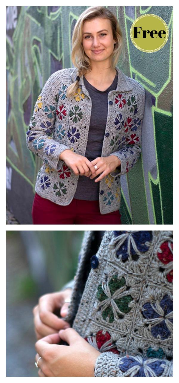Squares Motif Mod Tiles Cardigan Free Crochet Pattern