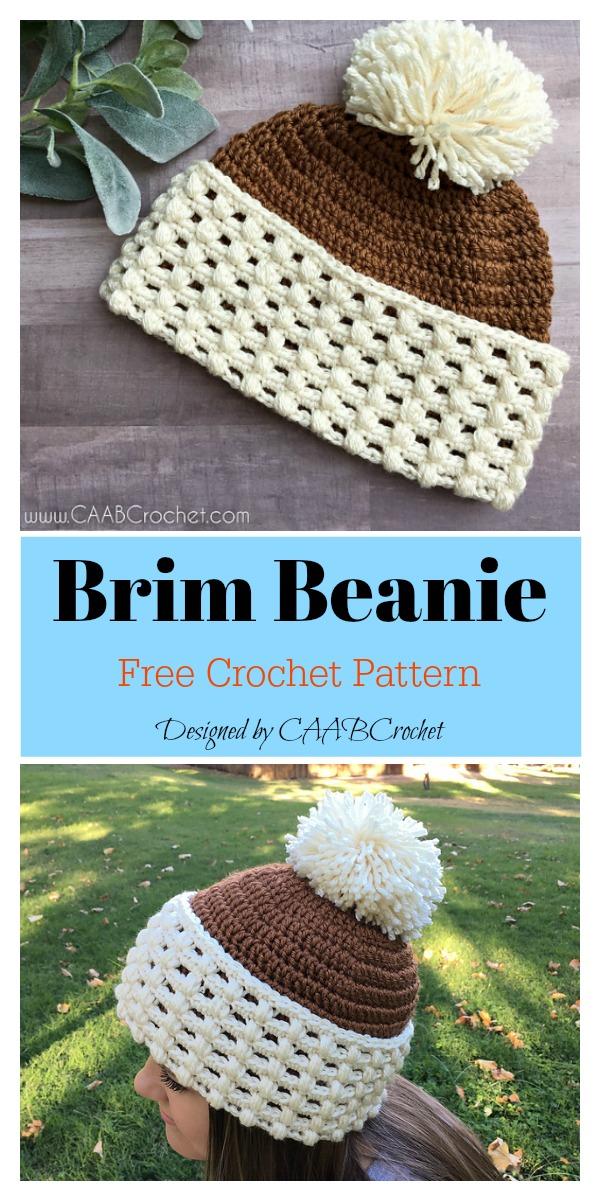 Toasted Hazelnut Brimmed Beanie Free Crochet Pattern