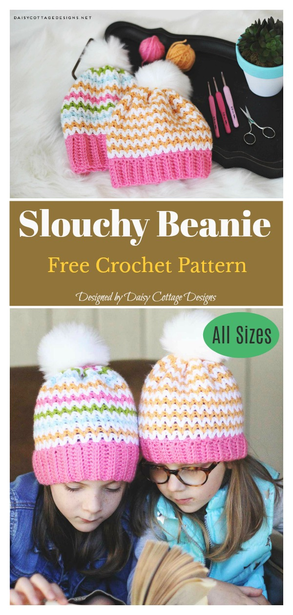 V Stitch Slouchy Beanie Free Crochet Pattern for All Sizes